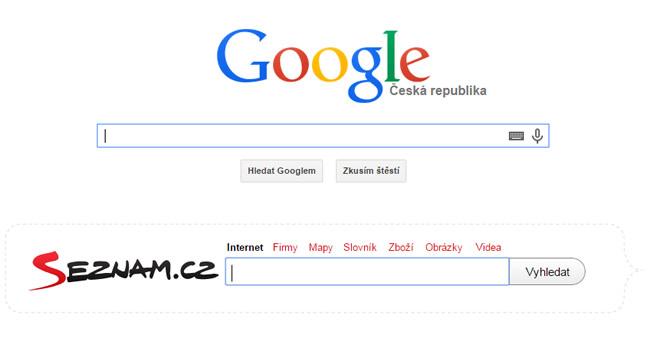 Vyhledávače Google a Seznam